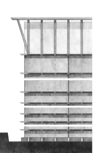 Elevation Rendering of the Ricola Storage (drawing Mona El Amin)